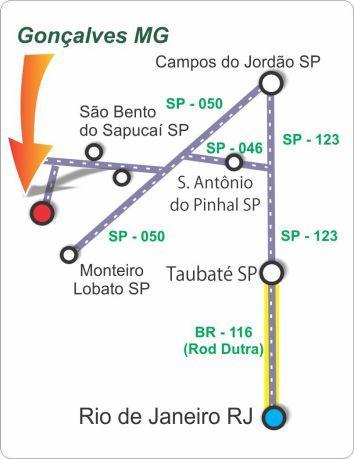 Como chegar em Gonçalves - Minas Gerais - Estradas - Acessos - Mapas - Distâncias