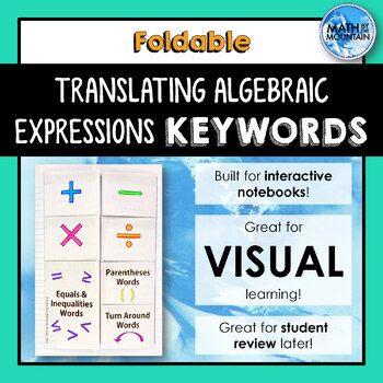Algebraische Ausdrücke, Gleichungen und Ungleichungen übersetzen SCHLÜSSELWÖRTER Faltbar