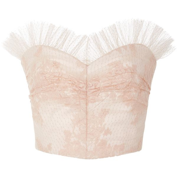 Rodarte Ruffled Lace Bustier Top found on Polyvore featuring tops, rodarte, shirts, pink, lace up front shirt, pink lace top, lace up front top, bustier tops and pink lace shirt