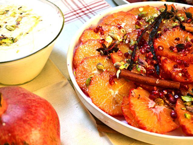 Kryddmarinerade apelsiner med krämigt ris (kock Ernst Kirchsteiger)