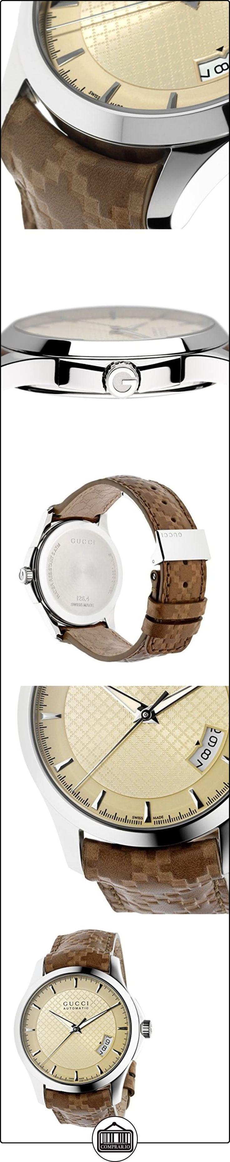 Gucci  G TIMELESS - Reloj de automático para hombre, con correa de cuero, color marrón  ✿ Relojes para hombre - (Lujo) ✿