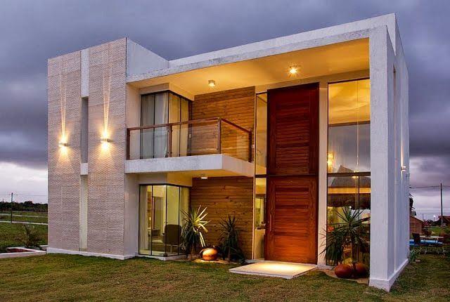 Decor Salteado - Blog de Decoração e Arquitetura : 20 Fachadas de casas com entradas principais modernas e imponentes - saiba como valorizá-las!
