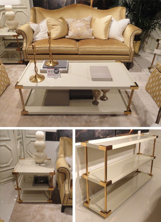 bernhardt collection tables. white + gold love!