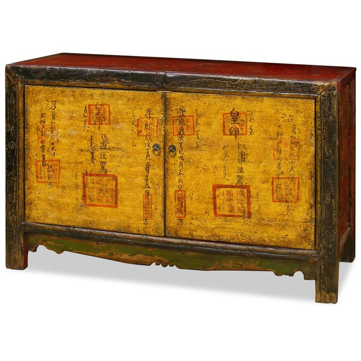 Hand painted tibetan cabinet for Hand painted oriental furniture