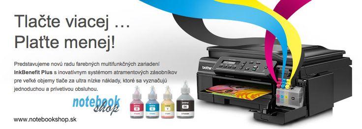 Tlačte lacnejšie s tlačiarňami Brother InkBenefit Plus. 6000čb/5000far strán na jednu náplň!