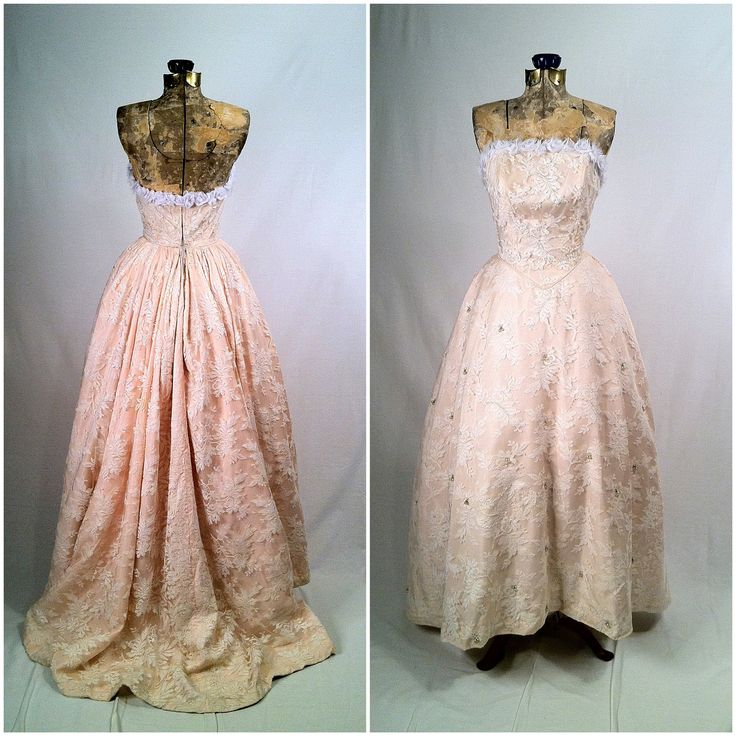 Vintage 1950s White Lace and Pink Gown
