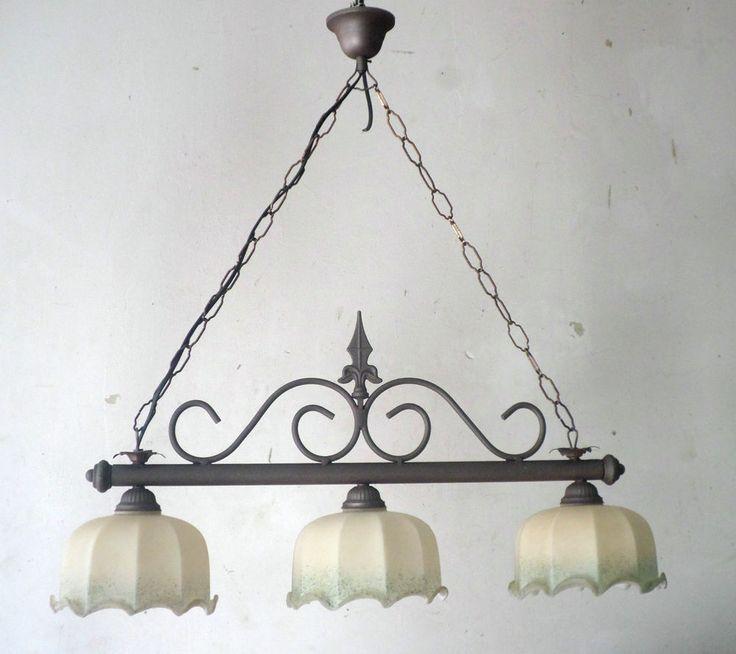 Lampadario rustico in ferro battuto con coppette in vetro mod. Bilanciere 3 Luci