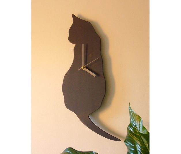 Wooden Cat Clock, Pretty Black Cat Wall Clock