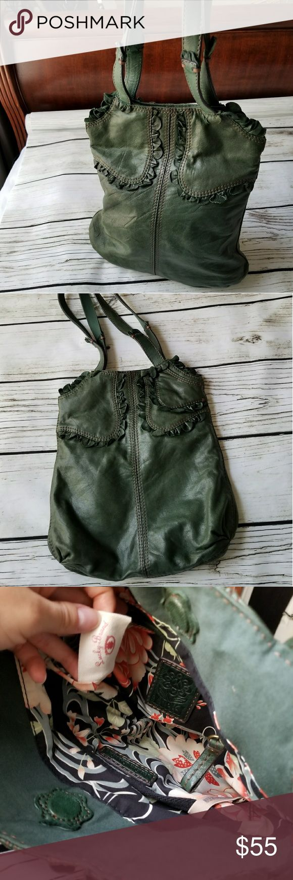"""New Lucky Brand green gen leather shoulder bag New condition  Lucky brand  Italian genuine lamb leather  2 straps  12"""" long 15"""" tall 3"""" deep  Super soft  Big enough to fit tablet big book or even a small laptop Lucky Brand Bags Shoulder Bags"""