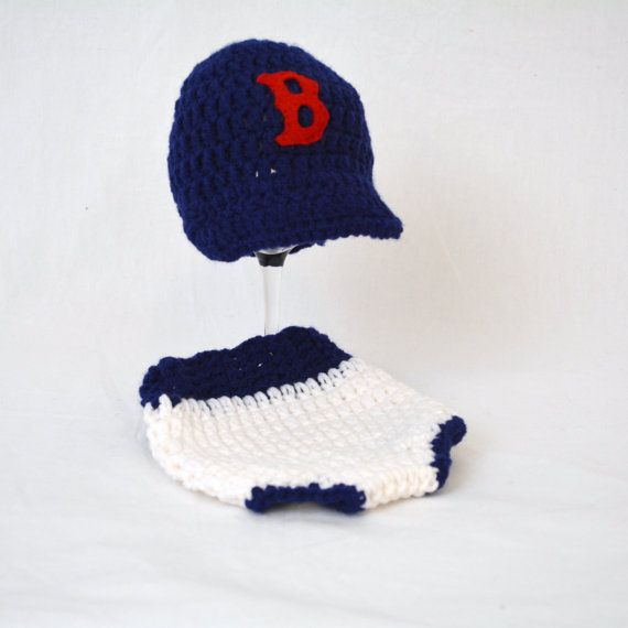 Boston Red Soxs BaseBall Hat and Diaper Cover by kernscraftcorner