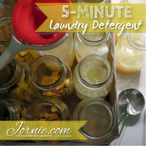 5-Minute Laundry Detergent | Jornie.com ~ Awesome DIY tutorial, so quick & costs only pennies per load of laundry! **PIN TO SAVE FOR LATER**