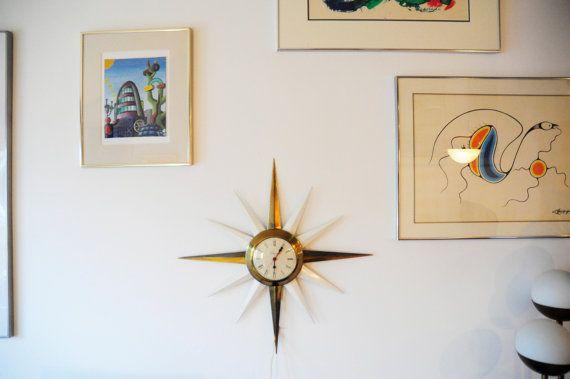 Mid Century Ingraham clock/ Brass starburst wall by RetroDromme