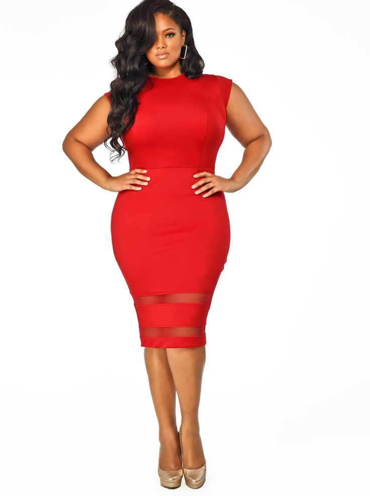 "Monif C KENDAL"" CAP SLEEVE MESH INSERT DRESS - RED $188.00. Comes in Midnight Blue & Black, also. Curvy & Plus Size Fashion"