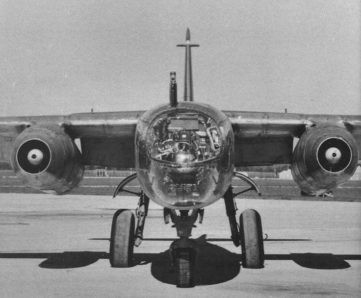 Nose and engines of Arado Ar 234, German late WWII jet bomber.