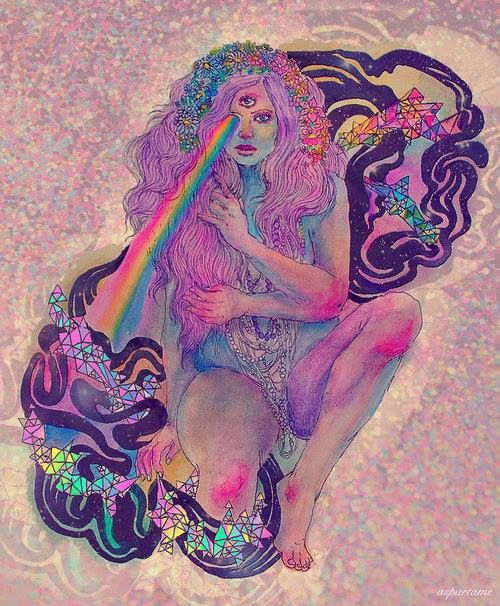 Diamond Messages- Liquid Summer Pink. Purple. Lady. Rainbows. Love. Trippy. Geometric. Watercolor.