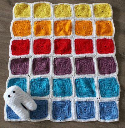 Granny Square Crochet Afghan Rainbow