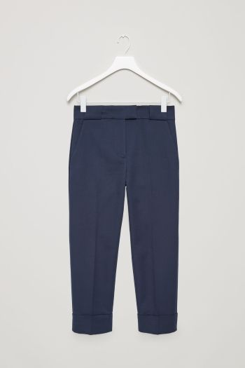 COS image 2 of Slim trousers with fold-ups in Indigo