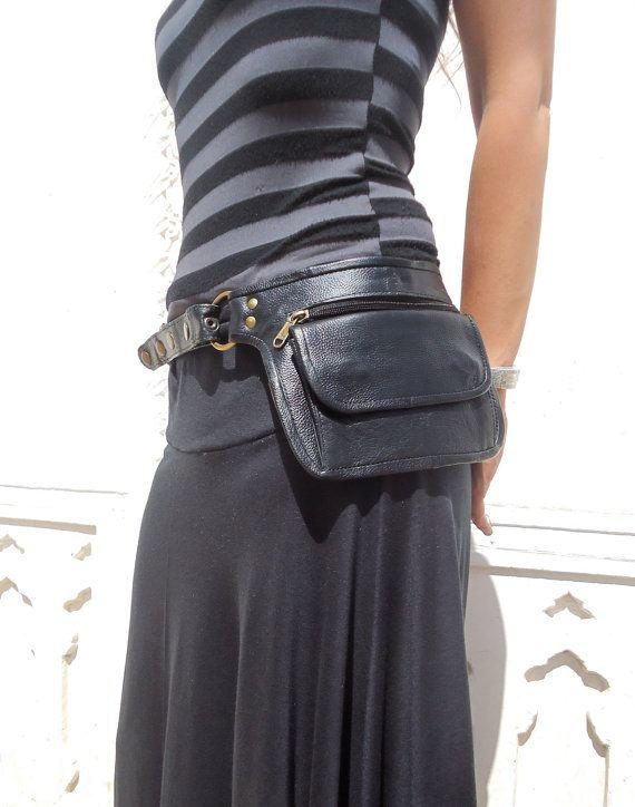 Utility Belt Leather Belt Bag Hip Bag Pocket Belt in Black- HB11J