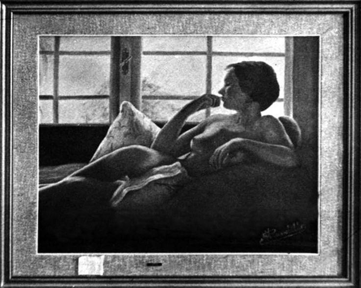 Nudo in controluce -  La foto e' in bianco e nero ma il quadro era a colori e fu venduto.  Mi e' rimasta solo la foto