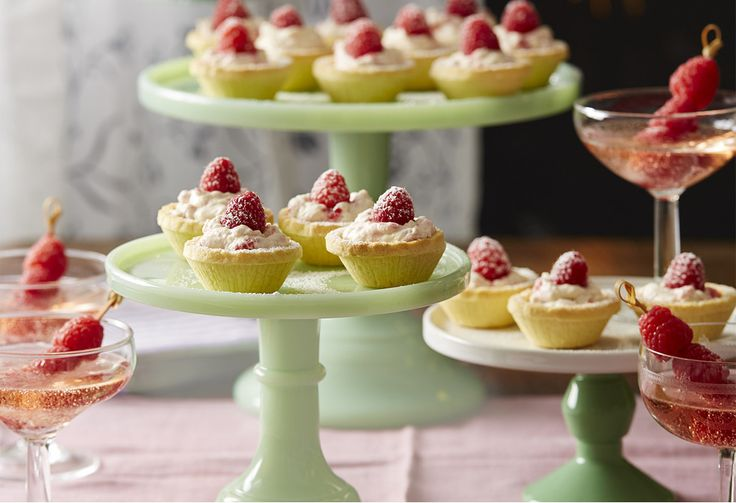These pretty tartlets are dainty bites of goodness. Topped with fresh raspberries and dusted with cream, it's a great dessert snack to have at a party.