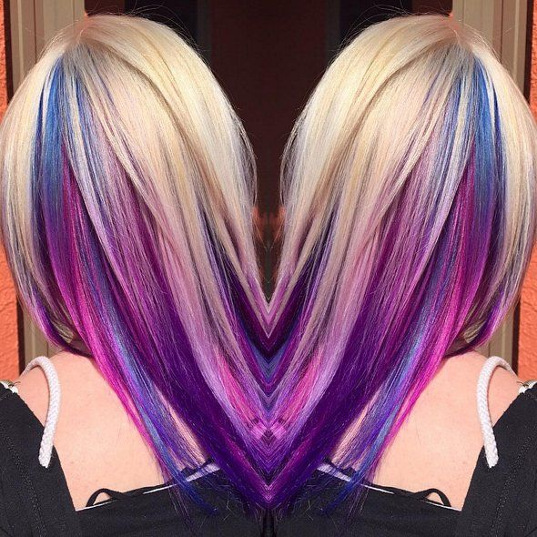 blue lilac underlights in blonde hair                                                                                                                                                                                 More