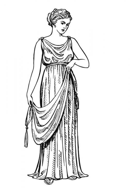 Ancient Grecian women wore rectangular shaped tunics that were wrapped around the body called Chitons. Often fabric folded over the belt beneath the bosom. This Chiton resembles a Hellenistic Chiton.
