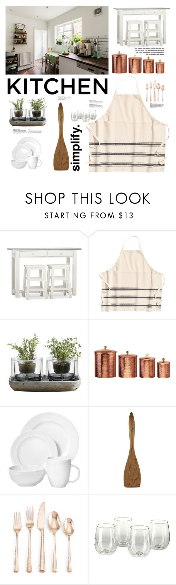 """Dream Kitchen. Simplify."" by elisabetta-negro ❤ liked on Polyvore featuring interior, interiors, interior design, home, home decor, interior decorating, Pottery Barn, Nude, Amici Home and Bérard"