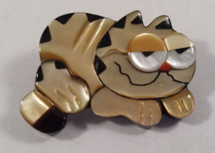Vintage Zuni Garfield Cat Inlay Coral MOP Onyx Sterling Silver Pendant Pin $850 WTF