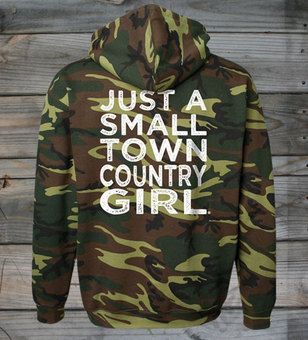 Back View - Small Town Country Girl ® Camo Hoodie  #CountryGirl #CountryBoy #Hoodies #Christmas