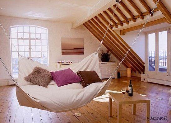 Indoor hammock. Did you know that sleeping on hammock can make you fall asleep faster and deeper?