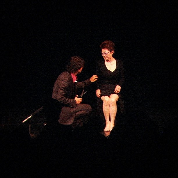 Cut Piece (2003). Sept 15, 2003 at Theatre Ranelagh, Paris, France. This time I did it with love for you, for me, and for the world. My body is the scar of my mind. I'll see you. yoko