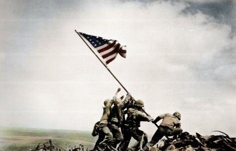 Imagen gratis, alzando la bandera en Iwo Jima, en HD.