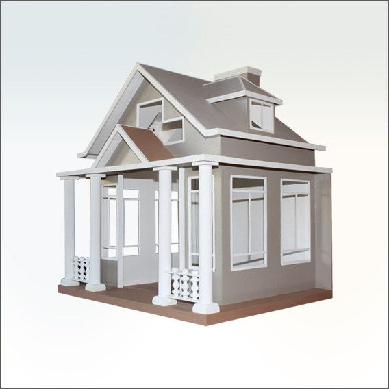 BUNGALOW dog house - A cute cottage for a pooch looking for comfort. Craftsman-inspired, big windows, white picket fence included. by PoochPalaces on Etsy