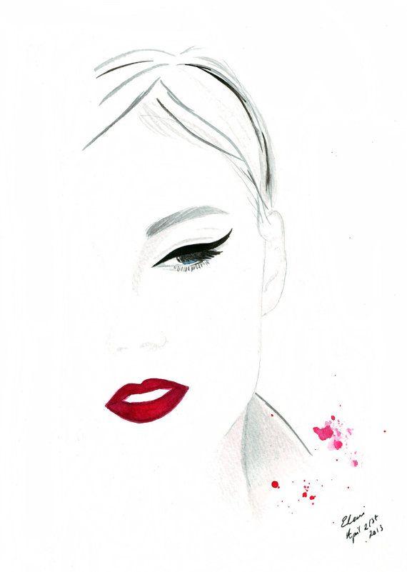 Watercolour fashion illustration Titled Cat Eye