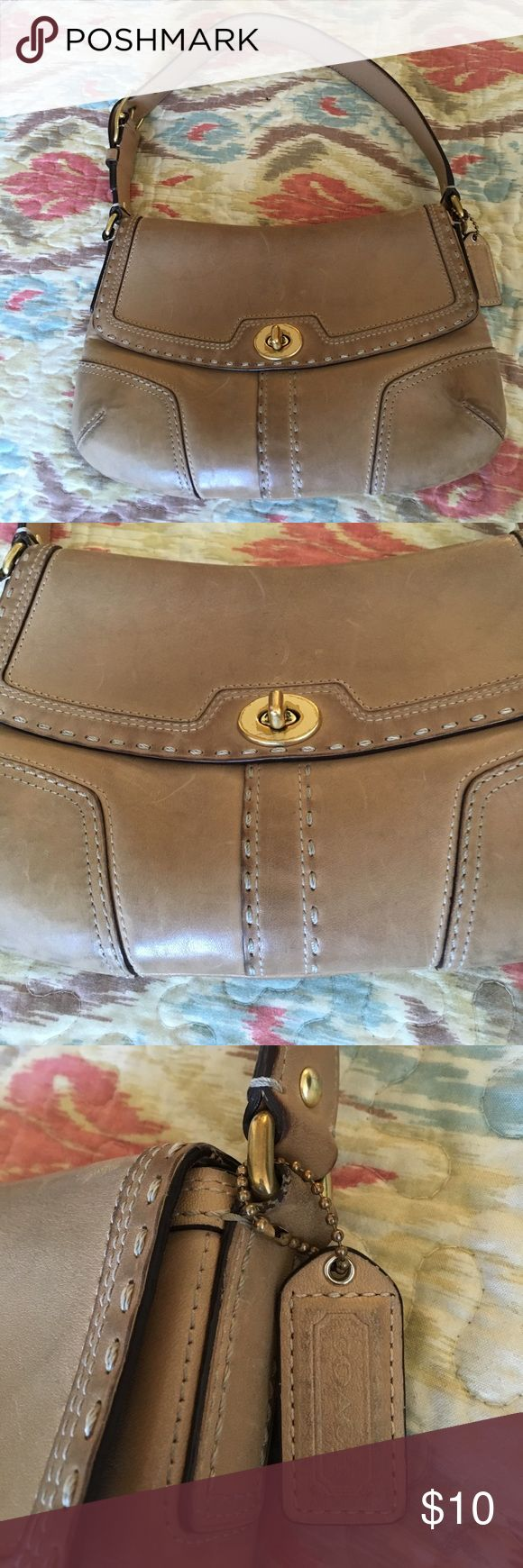 "COACH LEATHER HANDBAG TAN BRASS HARDWARE USED CONDITION SEE PICS NO HOLES CAN BE CLEANED CUTE AUTHENTIC H 7"" W 11"" Strap Drop 8"" Dept 3"" GREAT PRICE. Coach Bags Shoulder Bags"