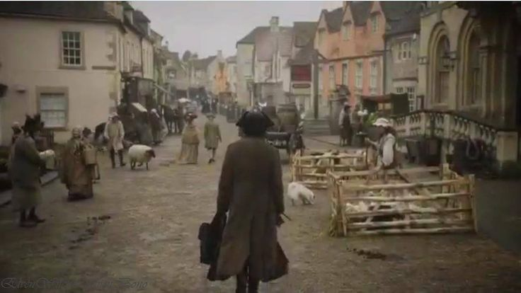scene from Poldark of Ross walking down the main street in Truro (i.e. Corsham). I