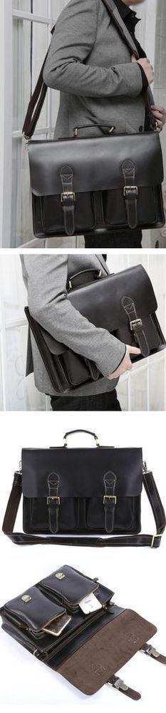 Handmade Top Grain Genuine Leather Laptop Briefcase Business Handbag Men Messenger Bag