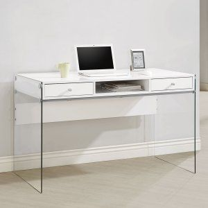 Coaster Furniture Glass Sided Computer Desk - Contemporary design features coupled with thoughtful functionality make this Coaster Furniture Glass Sided Computer Desk a perfect addition to your...