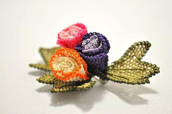 Purple Brooch pink brooch orange Crochet Flower by needlecrochet, $29.00