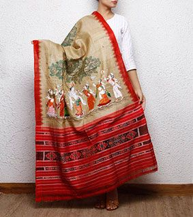 Beige & Red Tussar Silk Dupatta with Patachitra Art