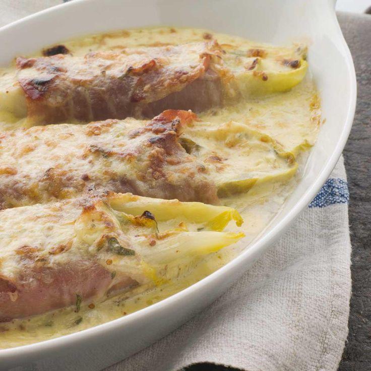 Gratin d'endives au jambon et à la béchame Muy buena receta, funciona perfecto, pero faire un peu moins de bechamel