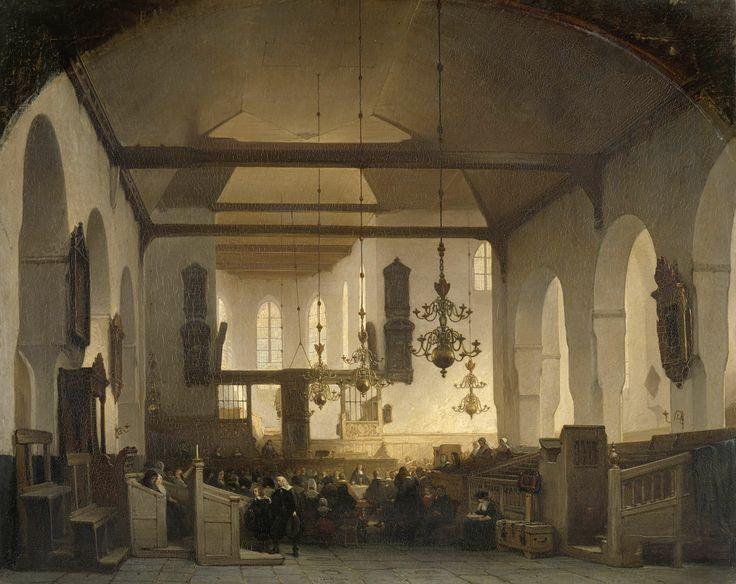 Interieur van de Geertekerk te Utrecht met de viering van het heilig avondmaal, Johannes Bosboom, 1852