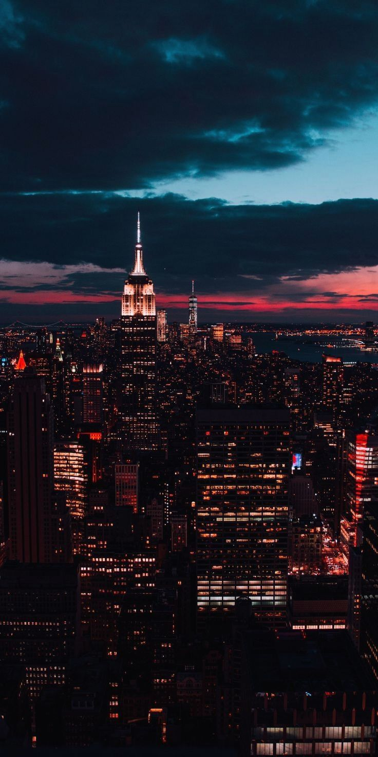 New York City Aerial Night View From Empire State Building Iphone 5 Wallpaper Fotografia De Paisagem Paisagem Urbana Wallpaper Paisagem