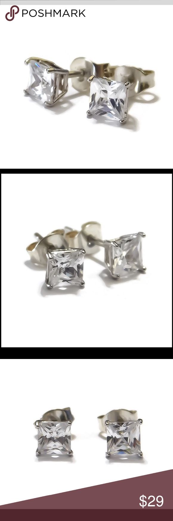 2CT CUSHION CUT 925 SWAROVSKI STUDS A simply stunning set of solid 925 sterling silver 2 carat genuine Swarovski crystal elements crystal stud-post earrings. Stamped 925. Includes sterling butterfly backs. Handcrafted, ready to ship. nejd Jewelry Earrings