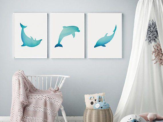 Dolphin Nursery Decor Ocean Kid Room Dolphin Watercolor Dolphin