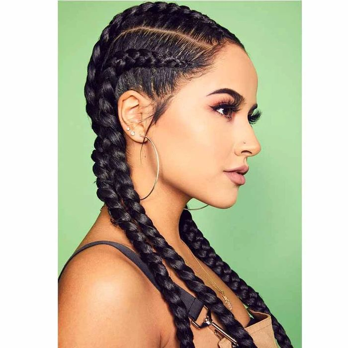 Synthetic Black Long Braided Lace Front Wigs For African ...