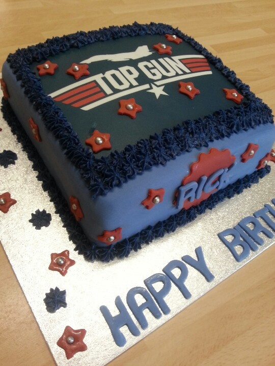 Top Gun themed birthday cake by Laura's Sweet Cake Creationz.