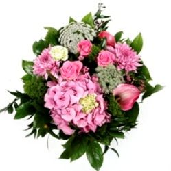 Pinks Creams and Whites Flower Bouquet Hand Tied