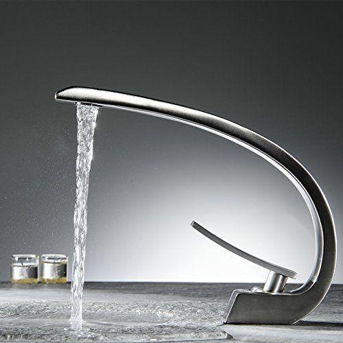 Greenspring Curve Bathroom Brass Vessel Sink Lavatory Vanity Faucet,Nickel  Brushed Greenspring Http:/