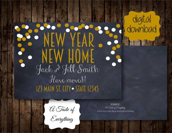 This is for a printable 2 sided card - New Year  New home    With customized address and names.    Back of card comes blank with background.